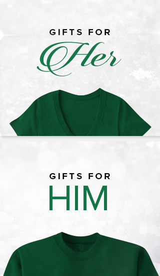 Holiday theme background with picture of a shirt for a woman and a shirt for a man. Shop for gifts for him and her.